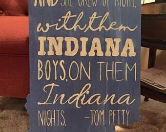 Indiana Wood Cutout with Tom Petty Lyrics