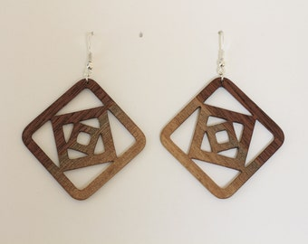 Walnut wood earrings