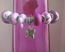 Butterfly Charm European/Pandora Style Beads Bangle Bracelet