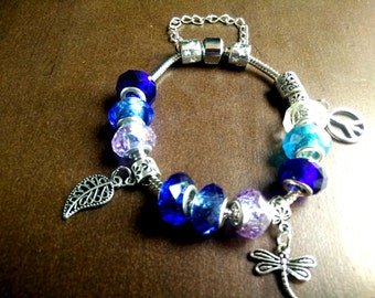 European Beads Charms Pandora Style Snake Chain Bracelet Blue