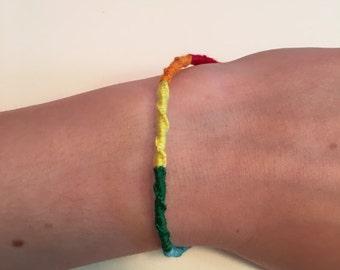 Rainbow Chinese Staircase Friendship Bracelet