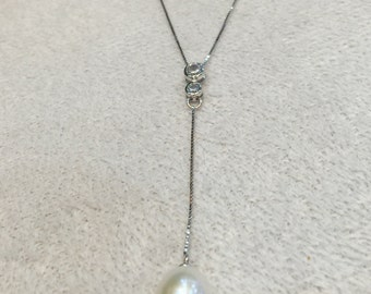 Simply lovely large pearl on sterling silver chain