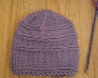 Knitted baby beanie hat, size 3-6 months, lavender color