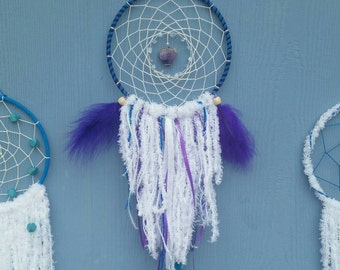 Dream Catcher- Blue, Purple & White with amethyst