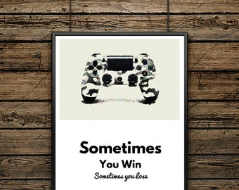 "Illustration Poster Controller ""PS4"" - Scandinavian Style - Wall Decoration - Typographic Design - Premium quality Poster - Gift for men"