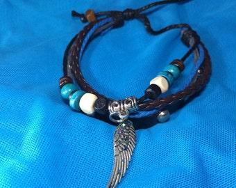 3 strand leather beaded bracelet
