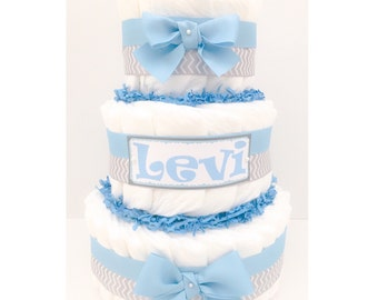 Diaper Cake - Diaper Cake For Boys - Boy Diaper Cake - Boy Baby Shower - Baby Shower Centerpiece - Personalized Diaper Cake