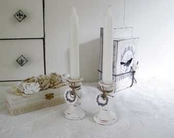 Shabby pair wood candlesticks