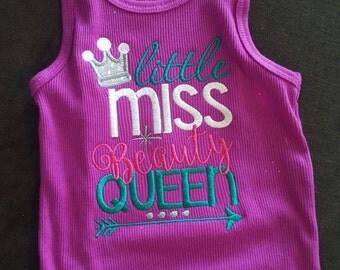 Little miss beauty queen shirt- body suit- pageants-embroidery- custom- girls shirt