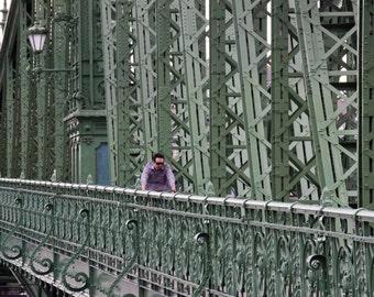 Morning Commute - Liberty Bridge, Freedom Bridge, Budapest Bridge, Bridges of Budapest, Green Photography, Hungary, Architecture, Pattern,
