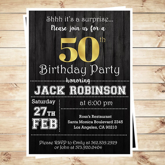 Mens Surprise 50th Birthday Party Invitations 50th Birthday