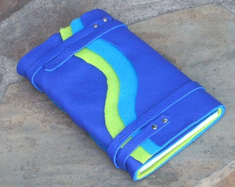 Hand-bound Leather Journal - Blue & Green Wave
