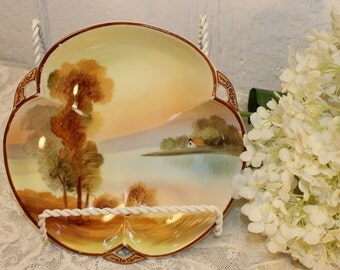 Nippon, Japan: Bowl with landscape in shades of yellow, Brown, green