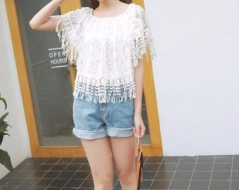 Korean Womens Casual Short Sleeve Tops Hollow Lace Blouses Tassel Round Shirts