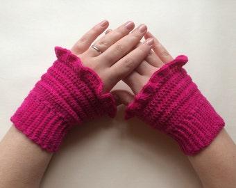 100% merino wool crochet wrist warmers