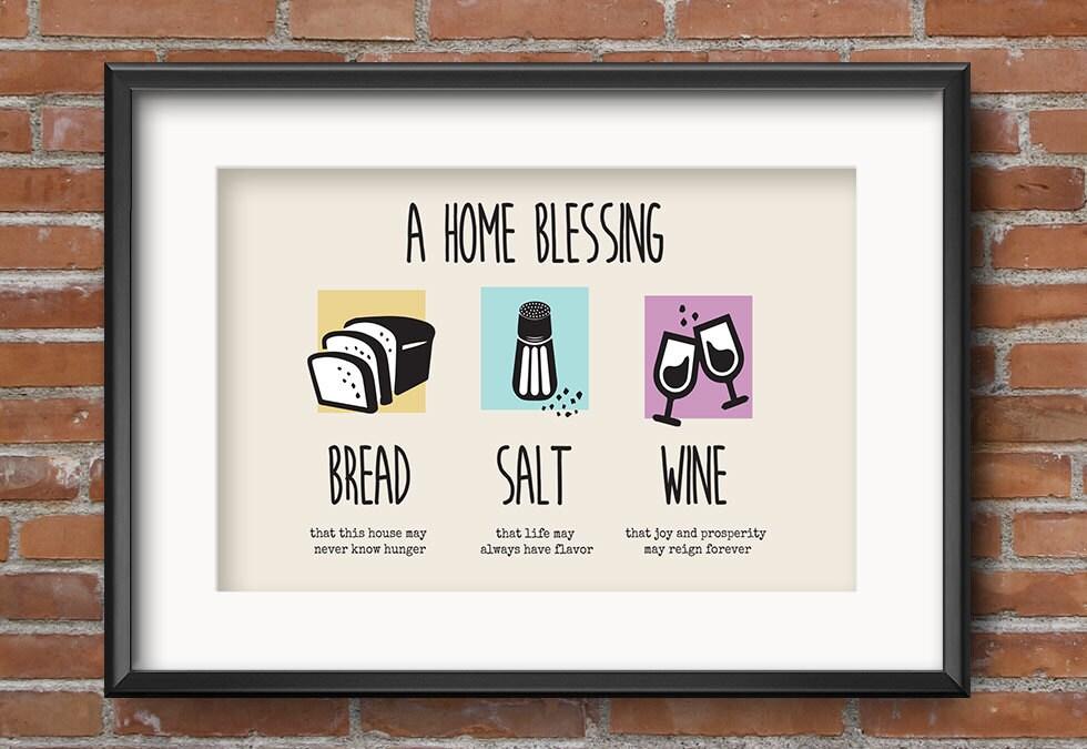 Bread salt wine housewarming gift housewarming gift basket - House warming blessing ...