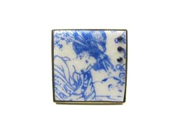 "Ring ""Geisha"" blue and white 123 Fimo"