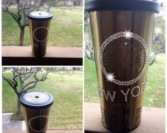 Limited Edition NEW YORK Times Square Starbucks Gold and Black Stainless Steel Cup w/ Swarovski Crystal Lid and Circle.