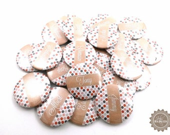Badge wedding | badges invited to plan table, badges forenames, customizable, retro theme, colour, 37 mm. Nice Badges & Cie