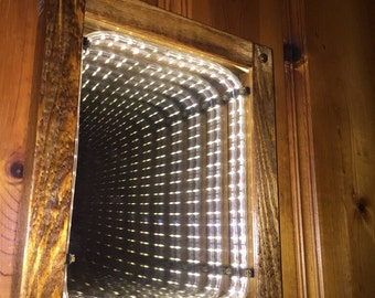Soft White LED Infinity Mirror Handcrafted With Wood Frame
