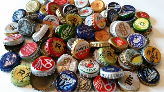 100 assorted recycled beer bottle caps for Can beer bottle caps be recycled