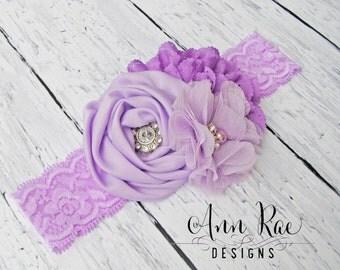 Purple and Lavender Headband For Baby, Newborn Headband, Baby Headband For Girls, Baby Bows Girl Headband, Purple Headband, Flower Headband