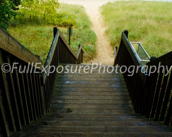 Stairway to secluded beach digital photography download, screensaver