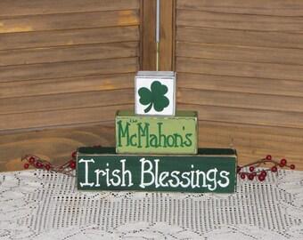 St. Patrick's personalized wooden block set Irish Blessings primitive hand painted wood shelf sitter shamrock Irish name sign Irish gift