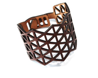 "Leather armwrist ""Triangle No1"" - naturally tanned 