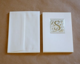"8 Embossed Monogram Initial ""S"" Blank Note Cards with Envelops Stationery"