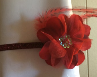 Red flower headband (3-6months)