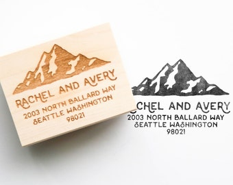 Rustic Mountain Address Stamp - Personalized Address Stamp, Rustic Stamp, Mountain Stamp, Outdoor Wedding, Rustic Wedding (Style 1)