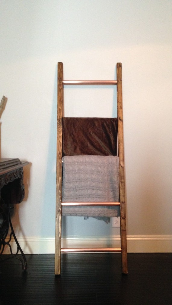 Copper And Wood Rustic Ladder Throw Blanket Quilt Primitive