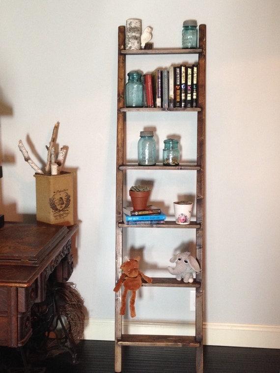 rustic blanket ladder shelf 72 6ft bookshelf shelving. Black Bedroom Furniture Sets. Home Design Ideas