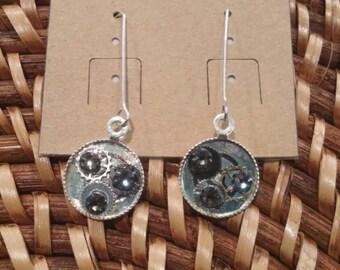 Sterling Silver gear earrings