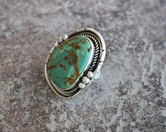 Navajo Green Turquoise and Sterling Silver Ring Size 10.5