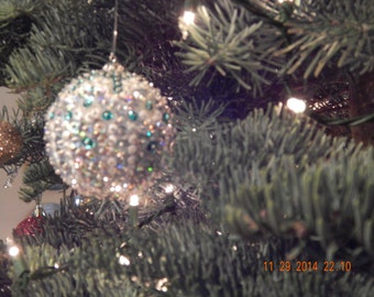 Teal and Silver Sequined and Beaded Christmas Ornament