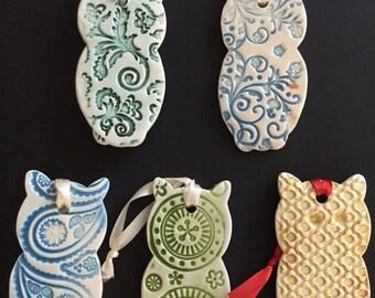 Ceramic Owl Ornament, Textured Owl, Owl, Ornament