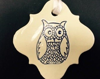 Ceramic Owl Ornament, Tweeky Owl, Owl Ornament