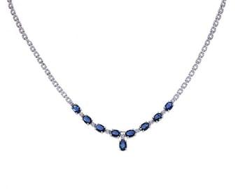 4.50 Carat Dark Blue Sapphire and 0.35 Carat Diamond 14K White Gold Necklace