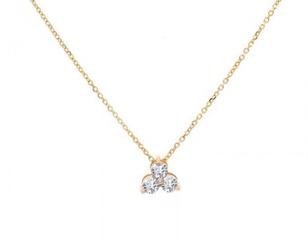 0.50 Carat Round Diamond Three Stone Cluster Pendant in 14K Yellow Gold