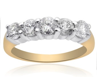 1.10 Carat Ladies Round Brilliant Diamond Wedding Band in 14K Yellow Gold
