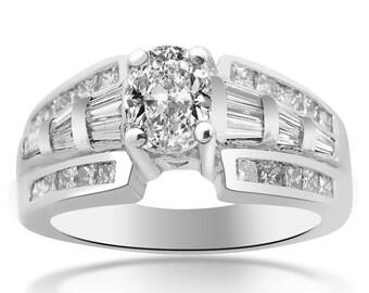 1.50 Carat F-VS1 Natural Oval Shape Diamond Designer Engagement Ring Platinum