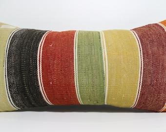 12x24 cushion cover turkish striped kilim pillow home decor boho pillow 12x24 multicolour pillow throw pillow antique pillow SP3060-619