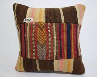 kilim patchwork pillow cover 16x16 pathcwork kilim cushion cover vintage kilim pillow cover throw pillow flat woven cushion cover SP4040-752