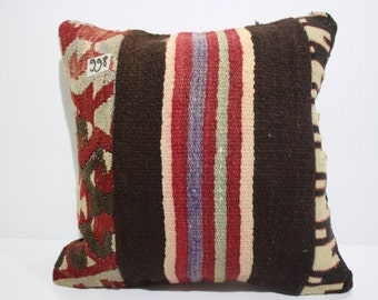 16x16 anatolian Turkish embroidered 16x16 patchwork kilim pillow cover 16x16 kilim pillow cushion cover SP4040-998