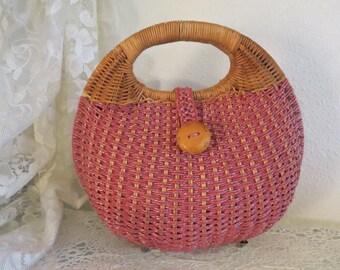 60's Style Vintage Woven Straw Wicker Purse Handbag - Plastic Wicker Purse
