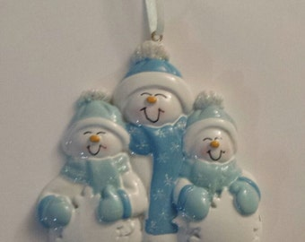 SNOWMAN FAMILY in BLUE - NFS23