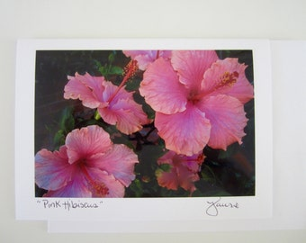 Pink Hibiscus Flower Photo Card