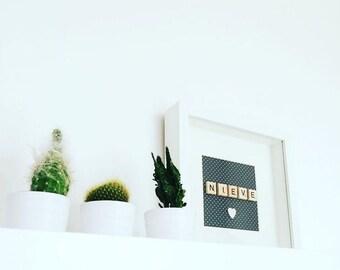 Personalised Handmade name frame - Wall Art - New Baby - gift